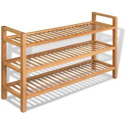 Solid Oak 3 Shelf Shoe Rack