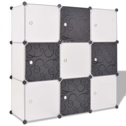 9 Compartment Storage Cube Organiser - Black and White