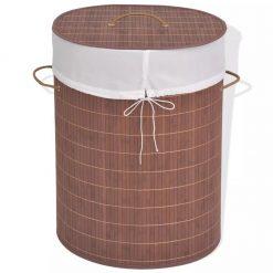 Oval Laundry Bin - Brown