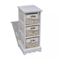3 Basket Wooden Storage Rack