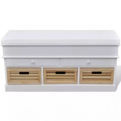 White Storage & Entryway Bench with Cushion Top 2 Draw 3 Crate