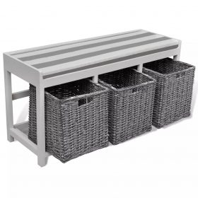 White Storage & Entryway Bench with Cushion Top 3 Basket