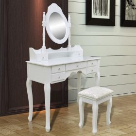 vidaXL Dressing Table with Mirror and Stool 7 Drawers White