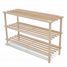 vidaXL Wooden Shoe Rack 3-Tier 2 pcs