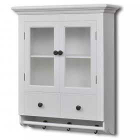 Kitchen Wall Cabinet with Glass Door - White