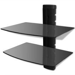 2-tier Wall Mounted Glass DVD Shelf Black