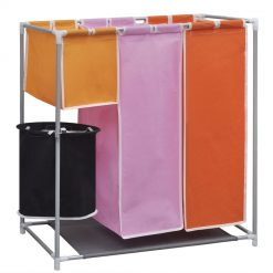 3-Section Laundry Hamper with a Washing Bin