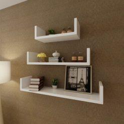 U-shaped Floating Wall Shelf Set - White