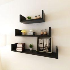 U-shaped Floating Wall Shelf Set – Black