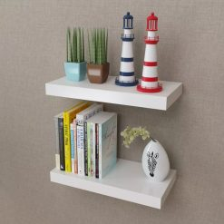 2 White Floating Wall Display Shelves - 40cm