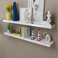 2 White Floating Wall Display Shelves – 120cm