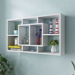 8 Compartment Floating Wall Display Shelf - White