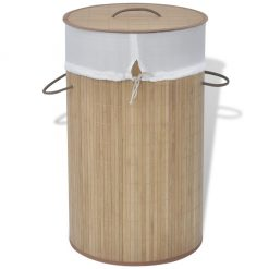 Round Laundry Bin - Natural