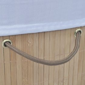 vidaXL Bamboo Laundry Bin Oval Natural