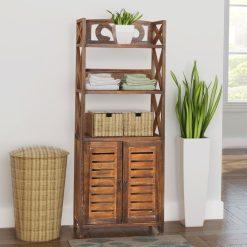 Wooden Bathroom Cabinet - Brown