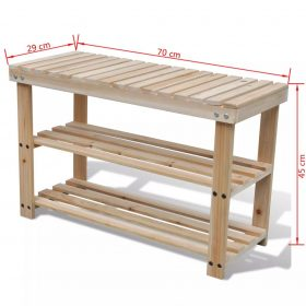 2-in-1 Wooden Shoe Rack With Bench