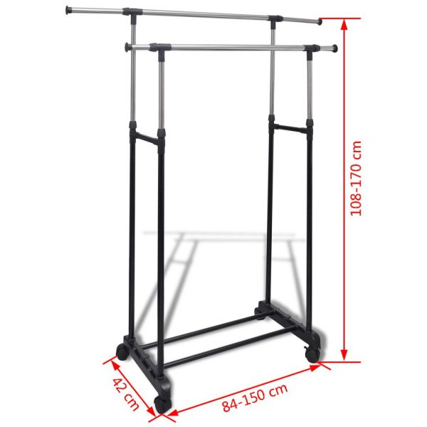 2 Rail Adjustable Clothes Rack - 2 piece set
