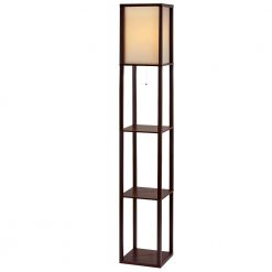 Contemporary Shelf Floor Lamp - Brown
