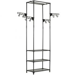 Clothes Rack Steel and Non-woven Fabric - Black