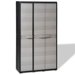 Garden Storage Cabinet with 4 Shelves - Black and Grey