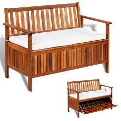 Garden Storage Bench - Solid Acacia Wood
