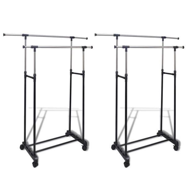 2 Rail Adjustable Clothes Rack – 2 piece set