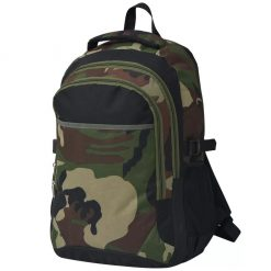 School Backpack - Black and Camouflage