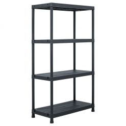 Storage Shelf Rack - Black 100 kg Plastic