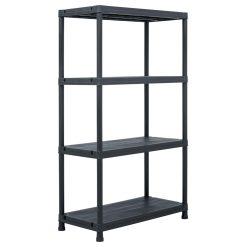 Storage Shelf Rack - Black 200 kg Plastic