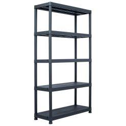 Storage Shelf Rack - Black 500 kg Plastic