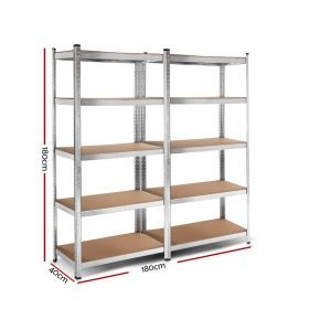 2×0.9m 5-Tier Garage Shelving Unit – Silver