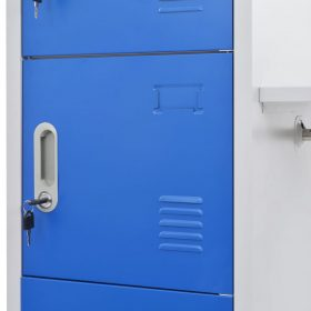 Metal Locker Cabinet with Coat Rack - Blue and Grey
