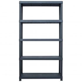 500kg 1.8m Plastic Storage Shelf Rack - Black