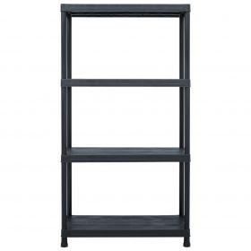 100kg 1.38m Plastic Storage Shelf Rack - Black