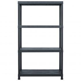 200kg 1.38m Plastic Storage Shelf Rack - Black