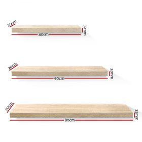 3 Piece Floating Wall Shelf Set - Oak