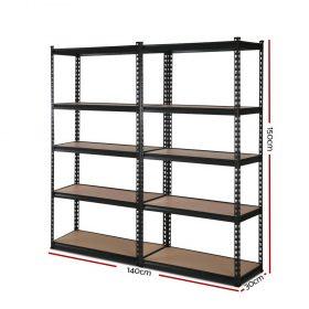2x0.7M Garage Shelving Rack - Black
