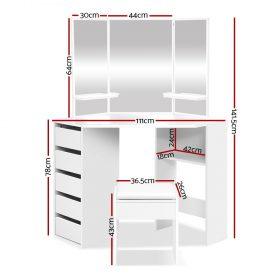 Corner Dressing Table Set - White